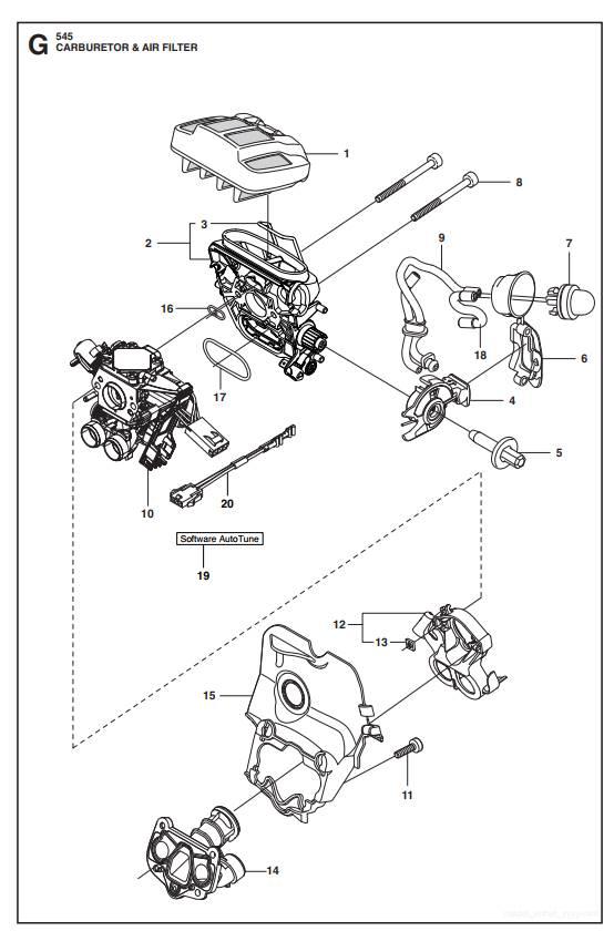 545 550XP(G) Vergaser&Luftfilter