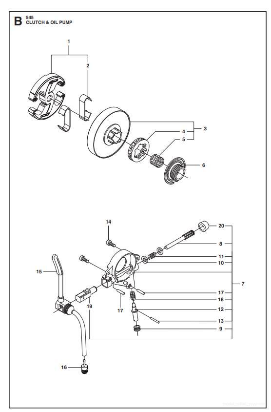 545 550XP(G) Kupplung&Oelpumpe